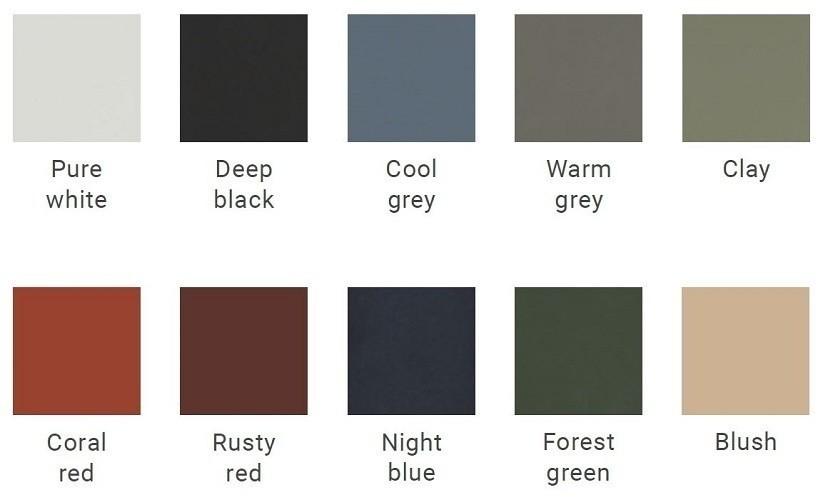 auping beschikbare kleuren poedercoat