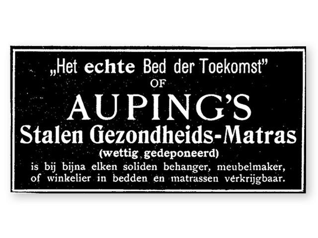 """""""Den rigtige seng for fremtiden"""" Auping. Reklame fra år 1890"""