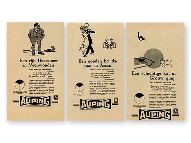 """""""Auping tager hånd om den vigtigste tredjedel af dit liv"""" reklame fra år 1931"""