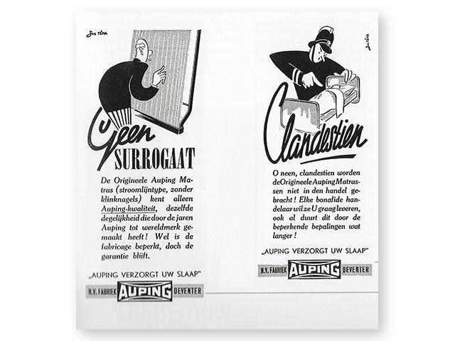 """""""Auping tager hånd om din søvn"""" reklame fra år 1942"""