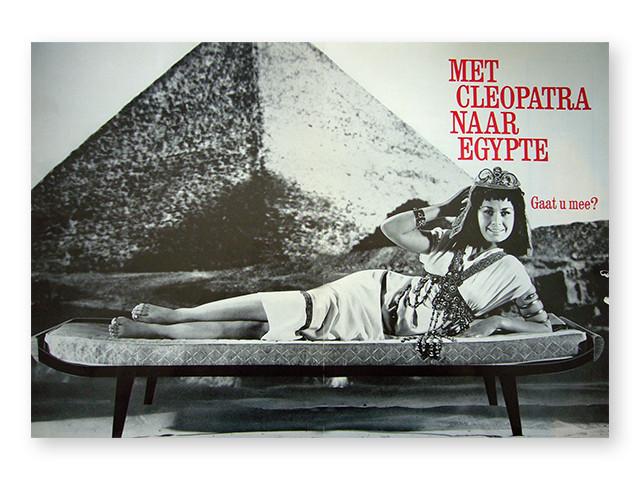 Med Cleopatra til Egypten. Auping reklame fra år 1964