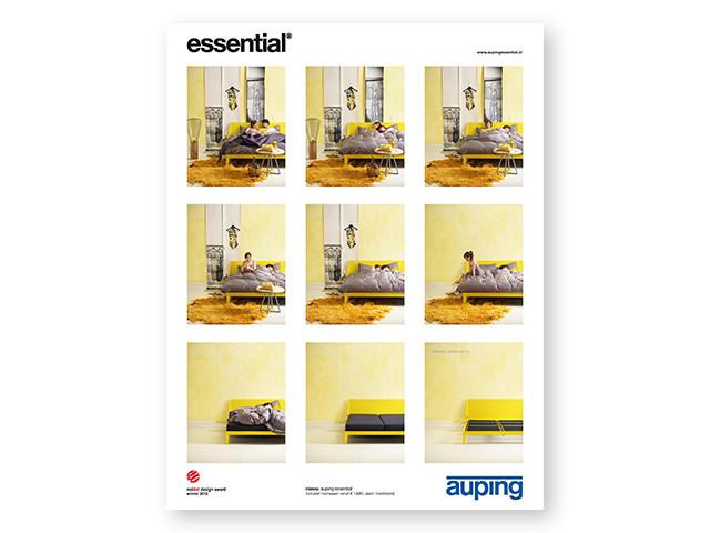 Den knaldgule Essential. Auping reklame fra år 2012